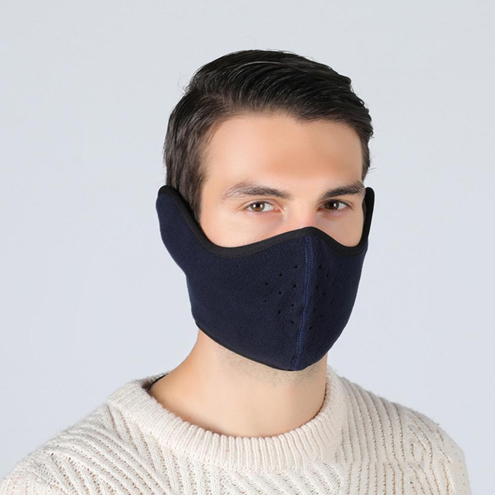 Winter Outdoor Ski Mask Cycling Warm Riding Mask Headgear Windproof Mask Ear Mask Navy_Free size