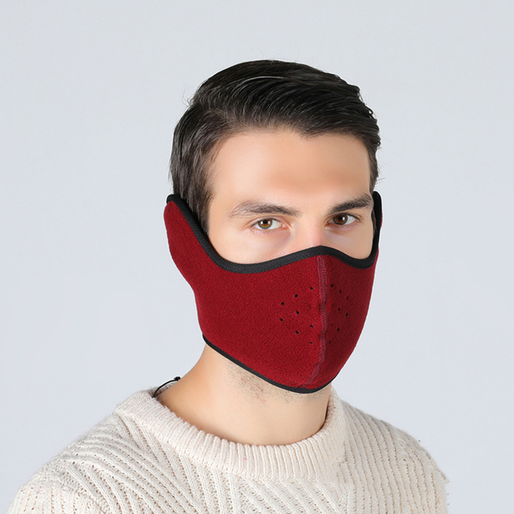 Winter Outdoor Ski Mask Cycling Warm Riding Mask Headgear Windproof Mask Ear Mask Wine red_Free size
