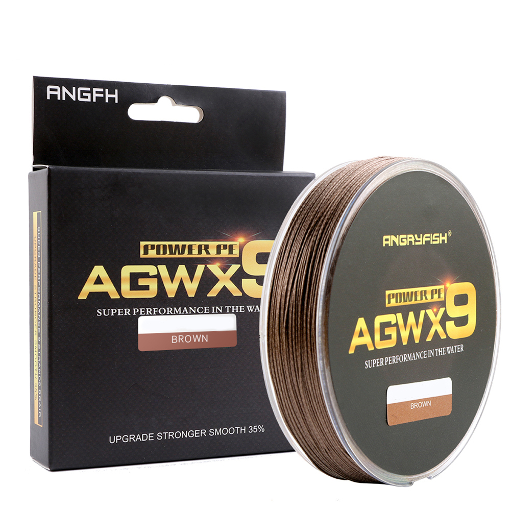 ANGRYFISH Diominate X9 PE Line 9 Strands Weaves Braided 300m/327yds Super Strong Fishing Line 15LB-100LB Brown 0.4#: 0.10mm/15LB
