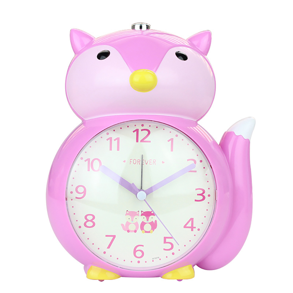 Cartoon Animal Shape Alarm Clock Kids Snooze Function Silent Battery Operated Clock for Bedroom Bedside purple