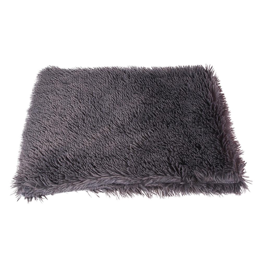 Pet Autumn Winter Dog Nest Warm Mattress Cat Sleeping Pad Long Blanket Dark gray_L-105*90