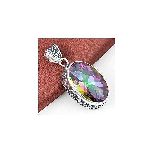 Huge Vintage Natural Rainbow Mystical Topaz Gemstone Solid Silver Pendant