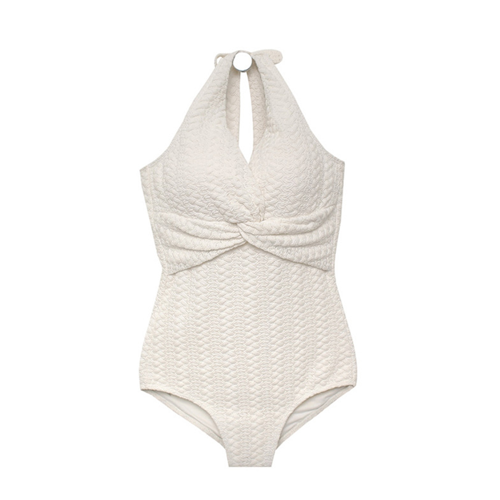 Women Swimsuit Nylon Solid Color One-piece White Twist Bikini Swimsuit white_xl