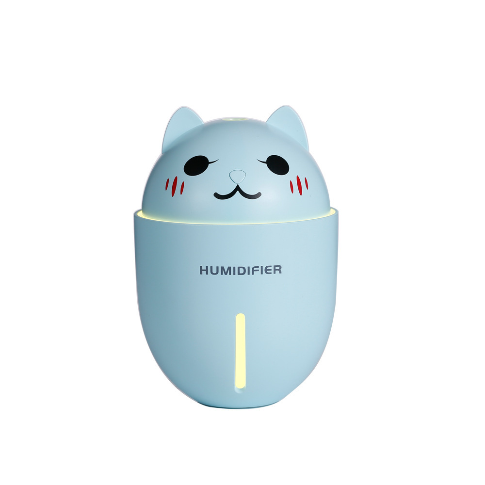 3 in 1 Multifunction USB Dekstop Diffuser Cartoon Cat Air Humidifier with Fan Table Lamp blue_134.8 * 93 * 93mm