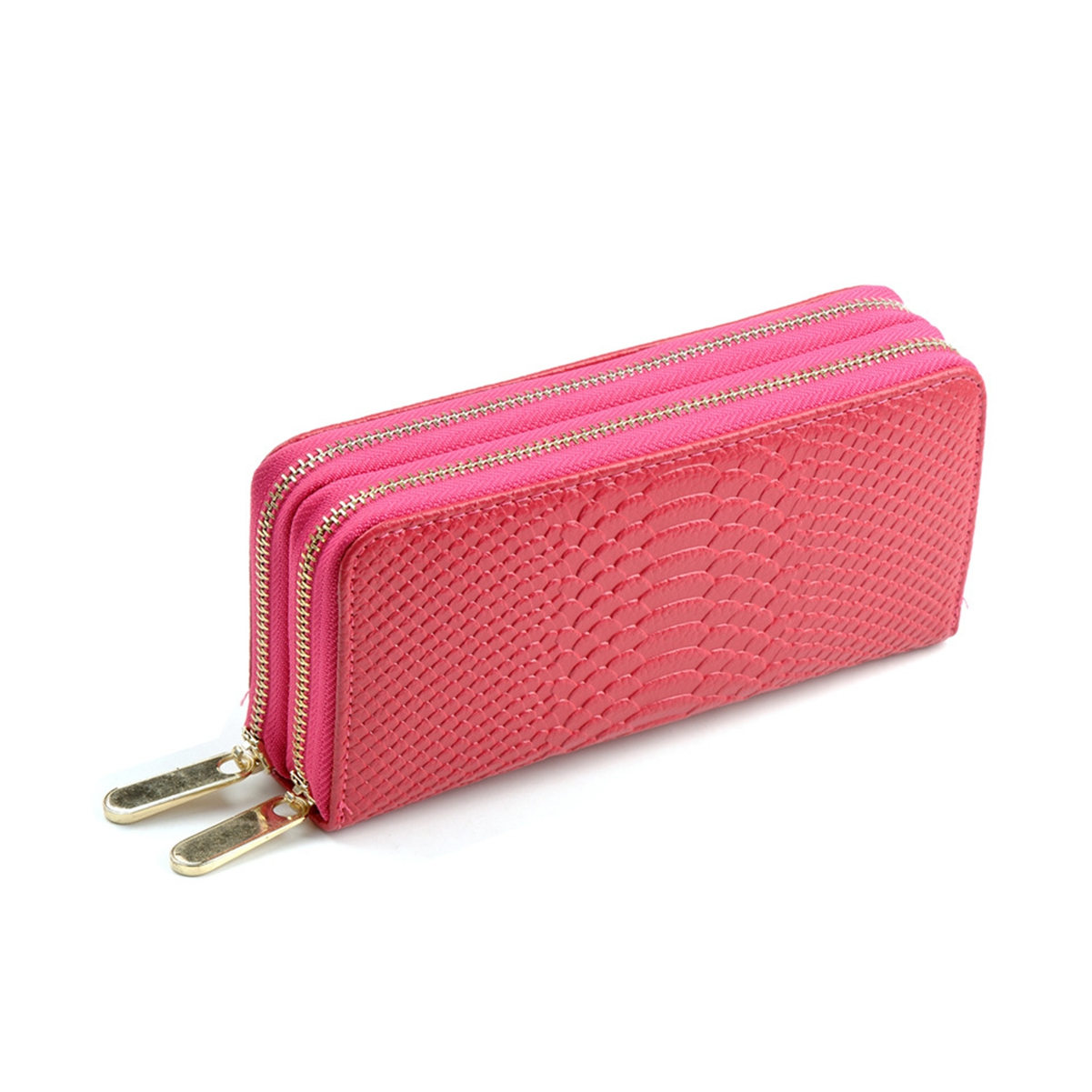 Women Tote Purse Leather Wallet Clutch Quilted Handbag Wristlet Card Holder Dual Zipper