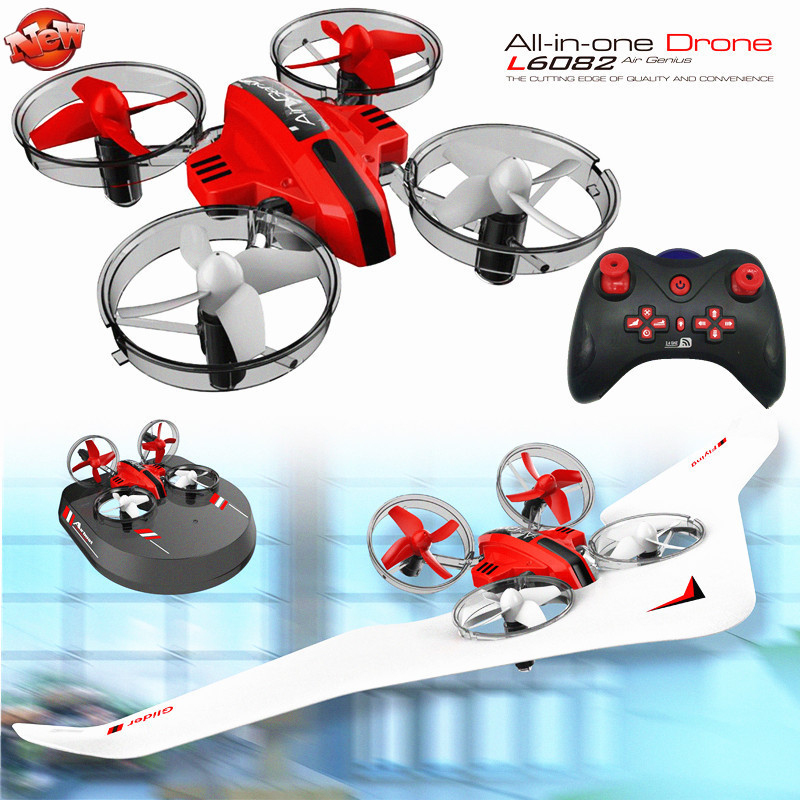 Kids DIY Fixed Wing 3 In 1 RC Glider Model Toy Electric 2.4G Land Sky Mode RC Drone Hovercraft 2 battery