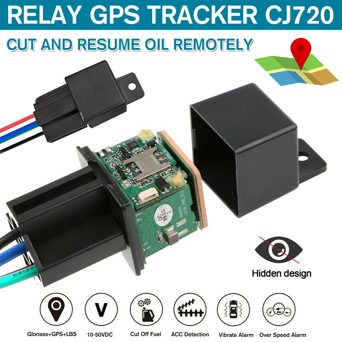 Gps Car Tracker Real Time Device Locator Remote Control Anti-theft Hidden 10-40v Locator black