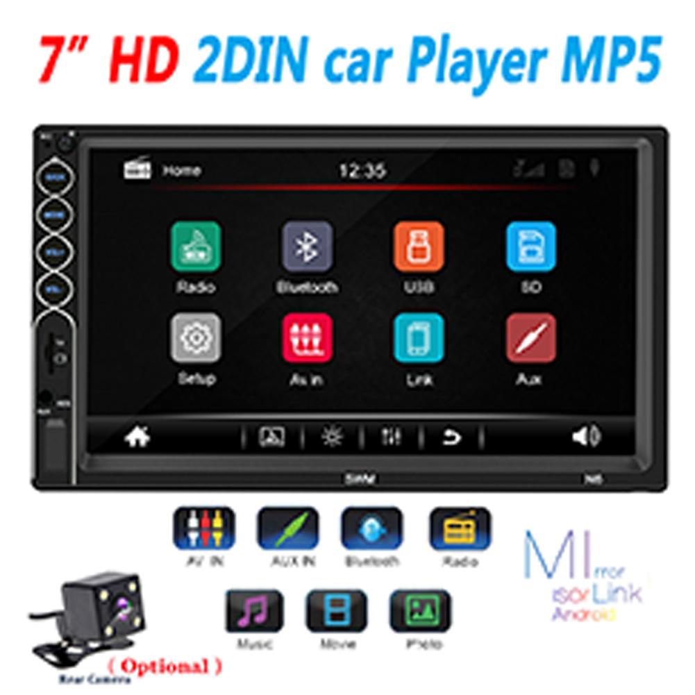 7inch 2 Din Car Radio MP5 Stereo Receiver Auto radio Car Stereo Audio Radio Mirror Link Support Rear Camera With camera