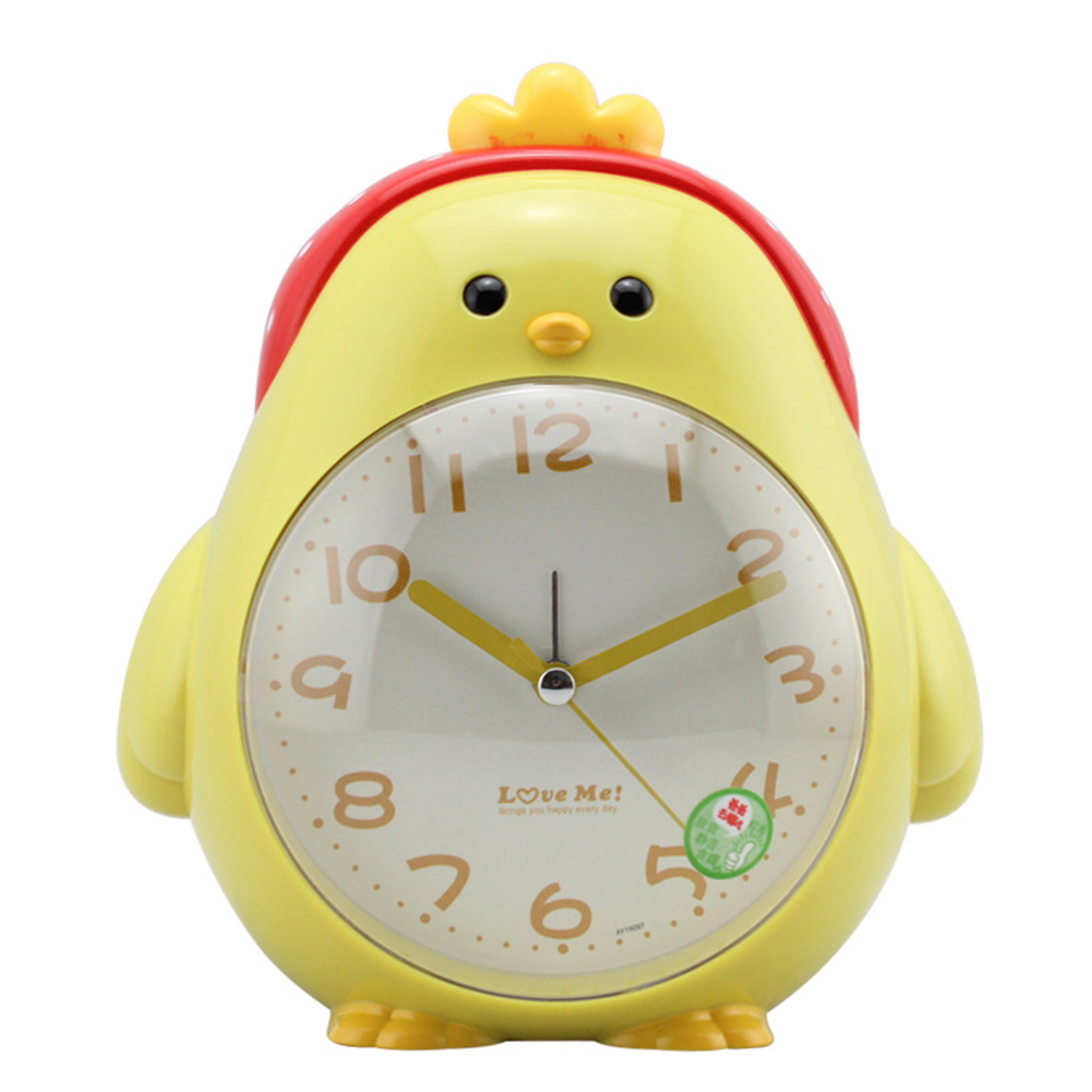 Cartoon Chicken Shape Mute Movement Alarm Clock with Night Light for Student Kids Bedroom yellow