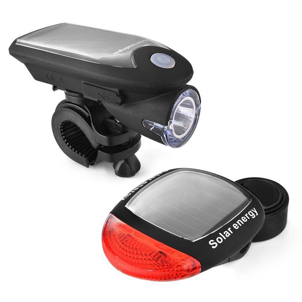 Bicycle Night Riding Illumination Set Headlight + Taillight High Bright USB Charging  Solar headlight + taillight (black)