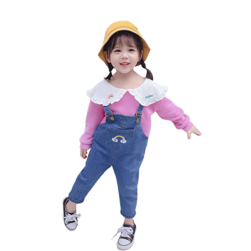 2 Pcs/set  Girls Sui Spring and Autumn Long-sleeve Top + Denim Colorful Overalls for 1-4 Years Old Kids purple_90cm