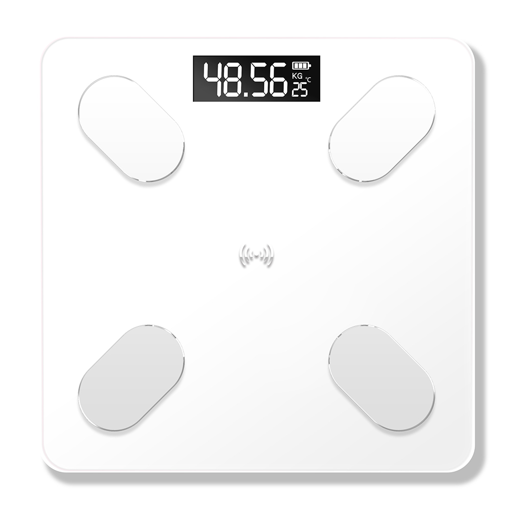 USB Charging Phone App Bluetooth Smart Electronic Digital Body Fat Scale for Weight Balance white