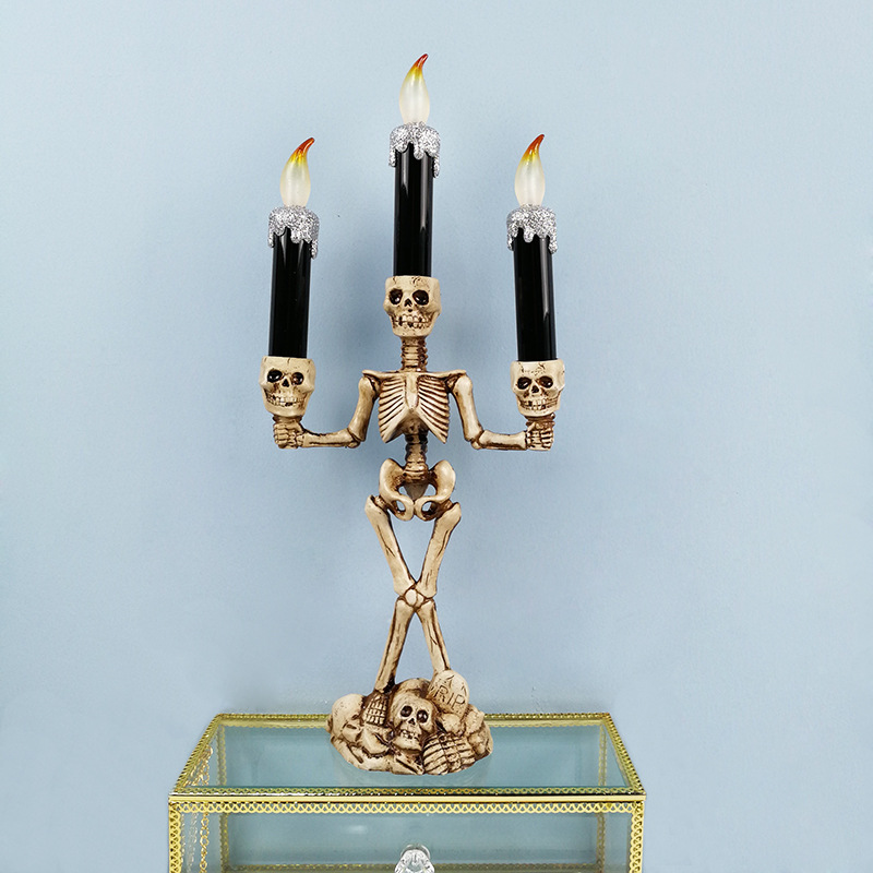 Halloween Skeleton Ghost Flameless Electronic Candles Light Decorative Prop silver