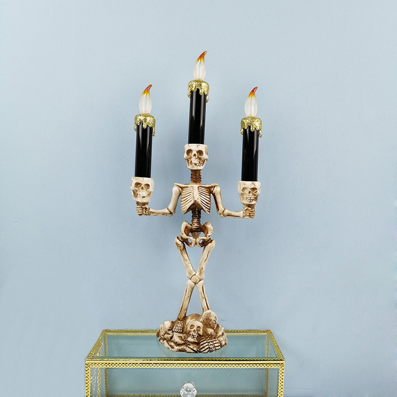 Halloween Skeleton Ghost Flameless Electronic Candles Light Decorative Prop gold