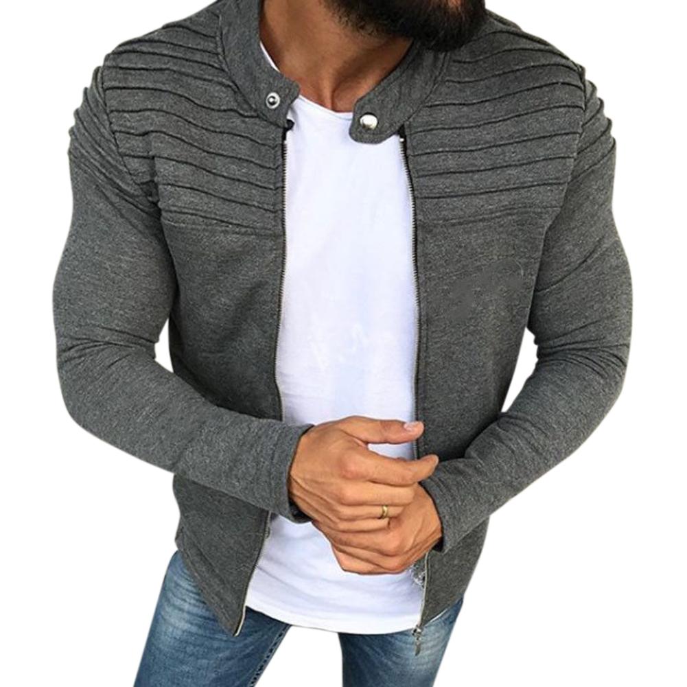 Men Fashion Solid Color Striped Tops Zipper Closure Casual Jacket  gray_L