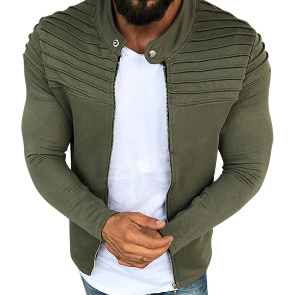 Men Fashion Solid Color Striped Tops Zipper Closure Casual Jacket  ArmyGreen_L