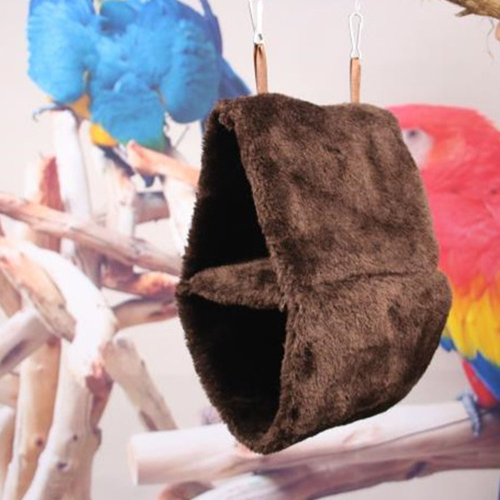 Double Layer Plush Nest Parrot Bird Hammock with Hanging Hook for Pet coffee_18*12*26