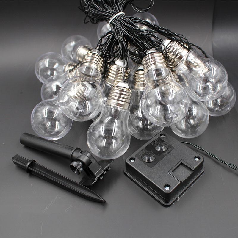 LED Solar Powered Ball Bulb String Lights Light Sensor Lamp Garden Yard Home Party Decoration Transparent shell Warm white light_4M10 light
