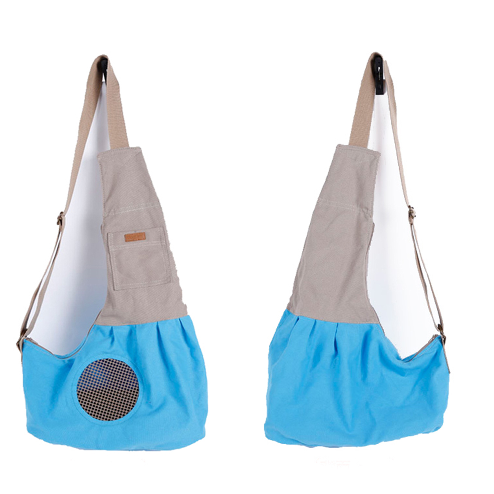 Fashion Portable Canvas Carrying Single Shoulder Bag for Small Pets Cat Dog Outdoor Use Blue_60*50*19cm