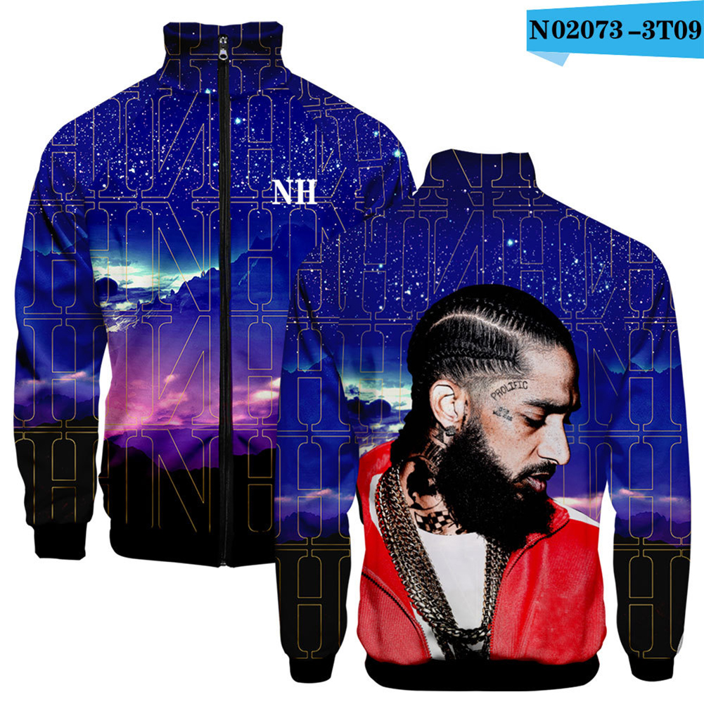 Men Fashion Nipsey Hussle 3D Stand Collar Zipper Jacket N02073-3T09 Purple_XXXL