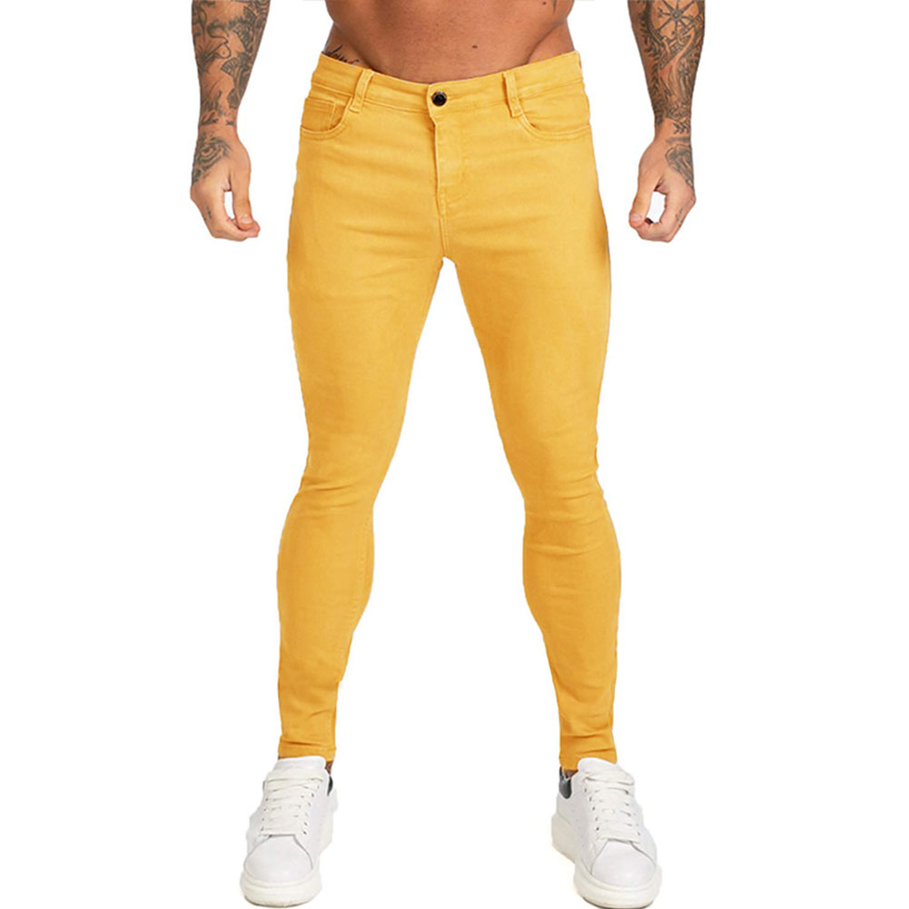 Men Winter Jeans Middle Waist Trousers Pants for Autumn Winter  Yellow_M