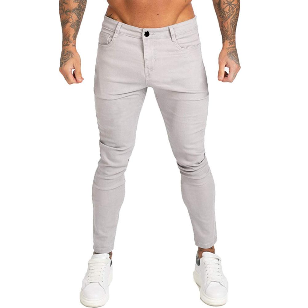 Men Winter Jeans Middle Waist Trousers Pants for Autumn Winter  Light gray_M