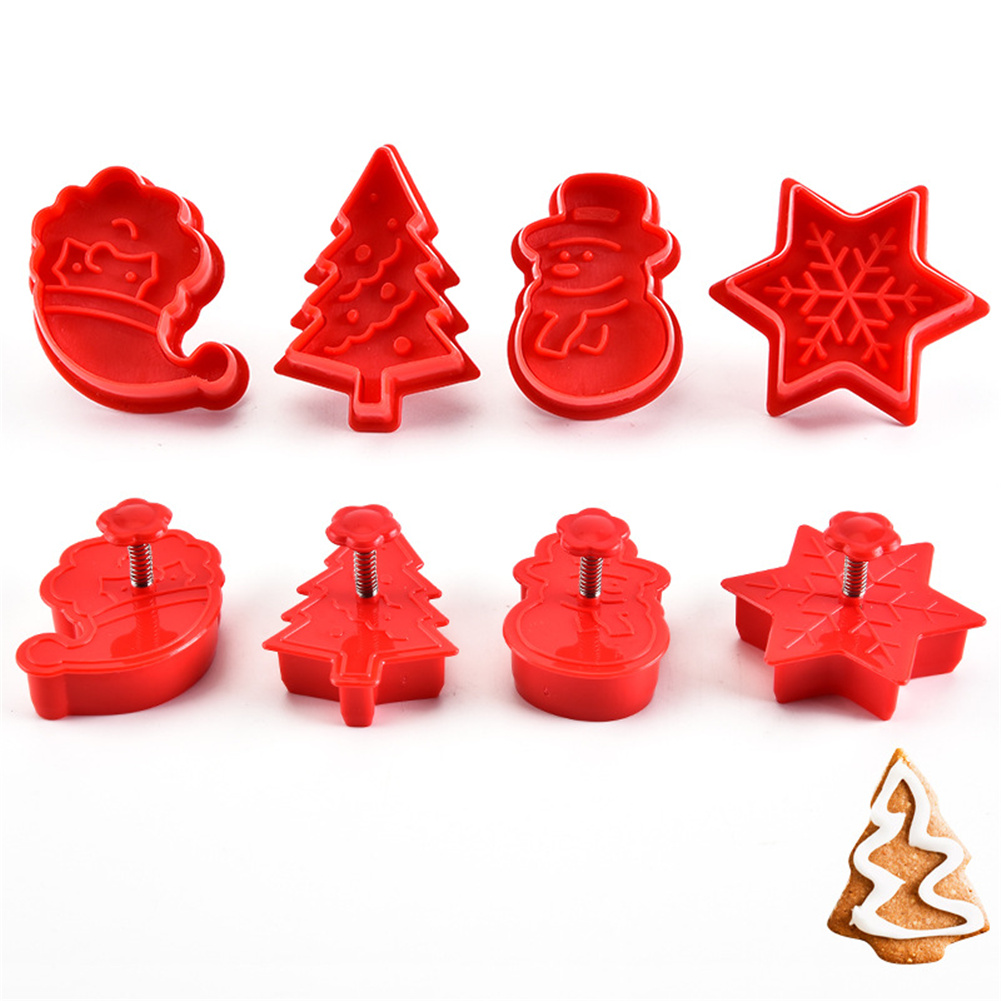 4 Pcs/set 3D Christmas Cookie  Mould Biscuit Plunger Cutter Diy Baking Tool Red
