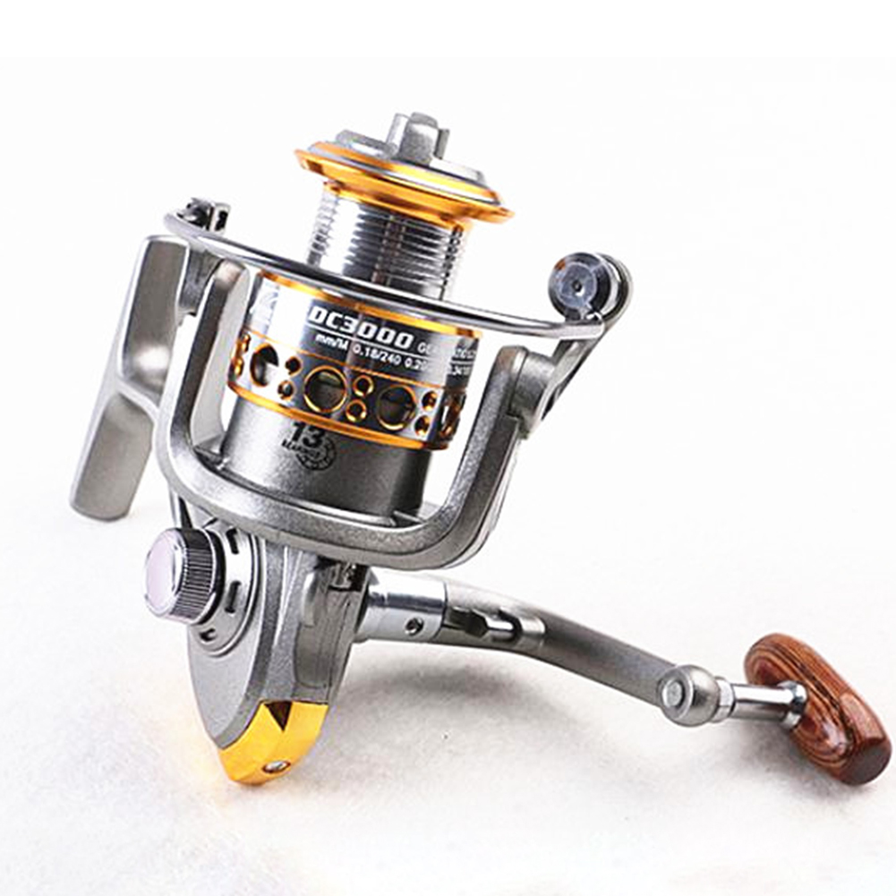 13 axis Large Capacity Metal Wire Cup Full Metal Spinning Wheel Reel Fishing Reel Fishing Equipment [Silver Grey] 2000 Model