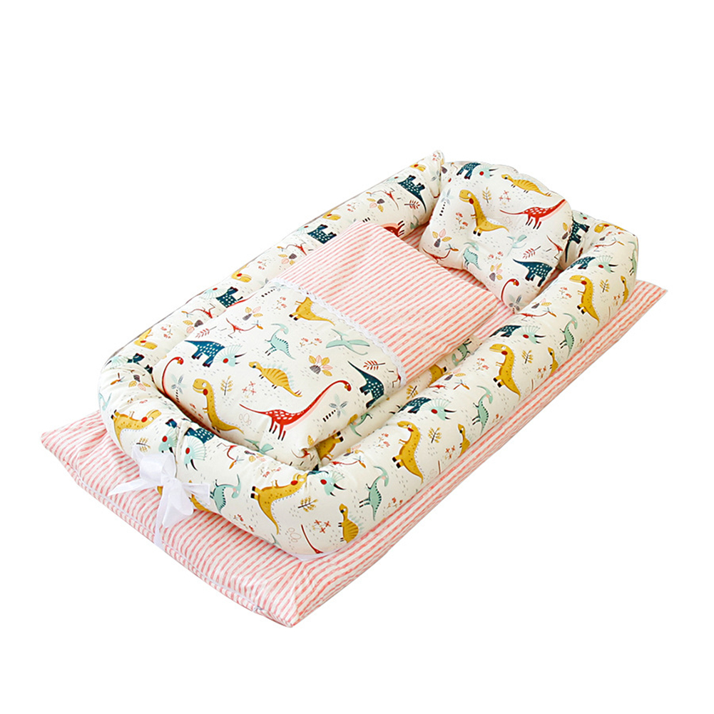6  Pcs/set Baby  Crib Cotton Bionic Foldable Removable Washable Portable Bed + Quilt  +  Pillow Jurassic pink(with quilt)_50x90