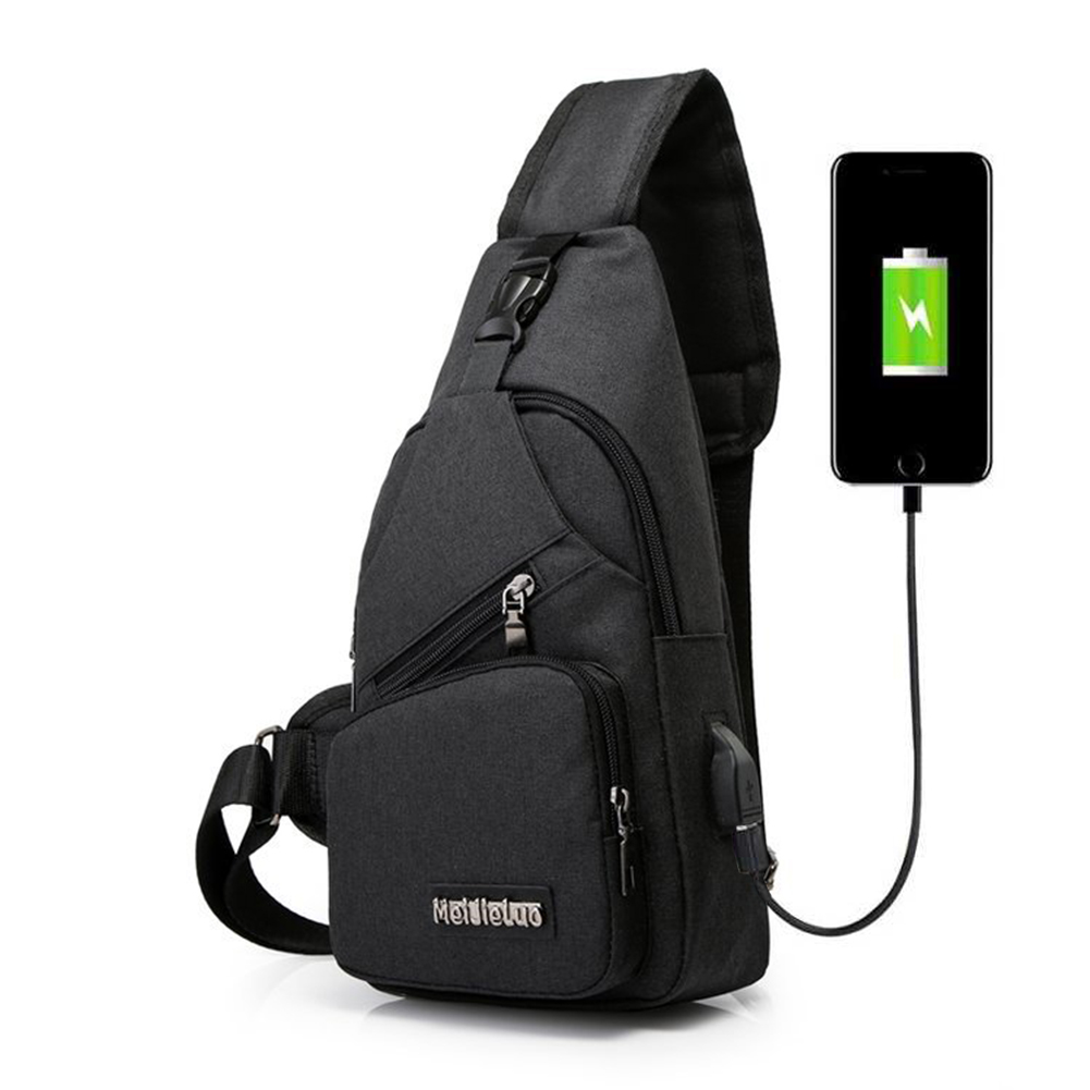 Men USB Charging Sports Canvas Outdoor Oblique Cross Single Shoulder Bag  black