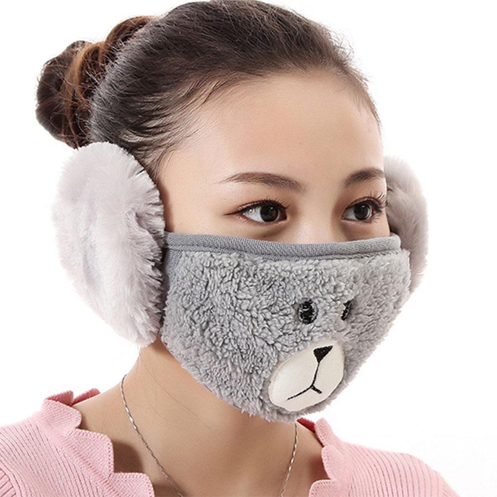 2 in 1 Unisex Winter Ear Warmers Mask Adjustable Plush Lovely Funny Ear Muffs gray
