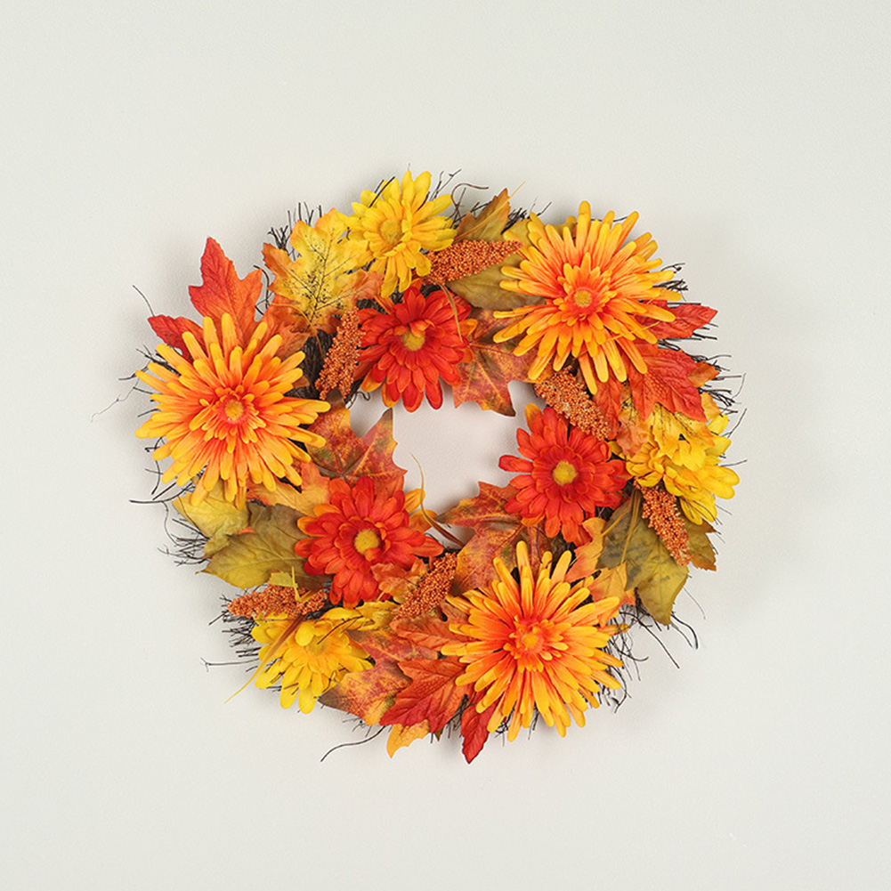 Simulated Maple Leaf Chrysanthemum Garland Hanging Pendant for Party Decoration As shown