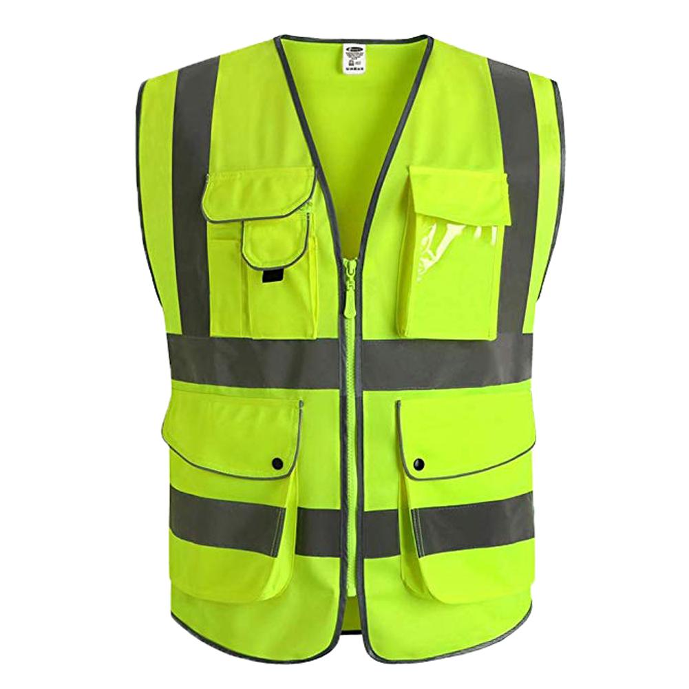 Reflective Vest Multi-pocket Reflective Suit Traffic Safety Riding Vest Suit Fluorescent yellow (S )