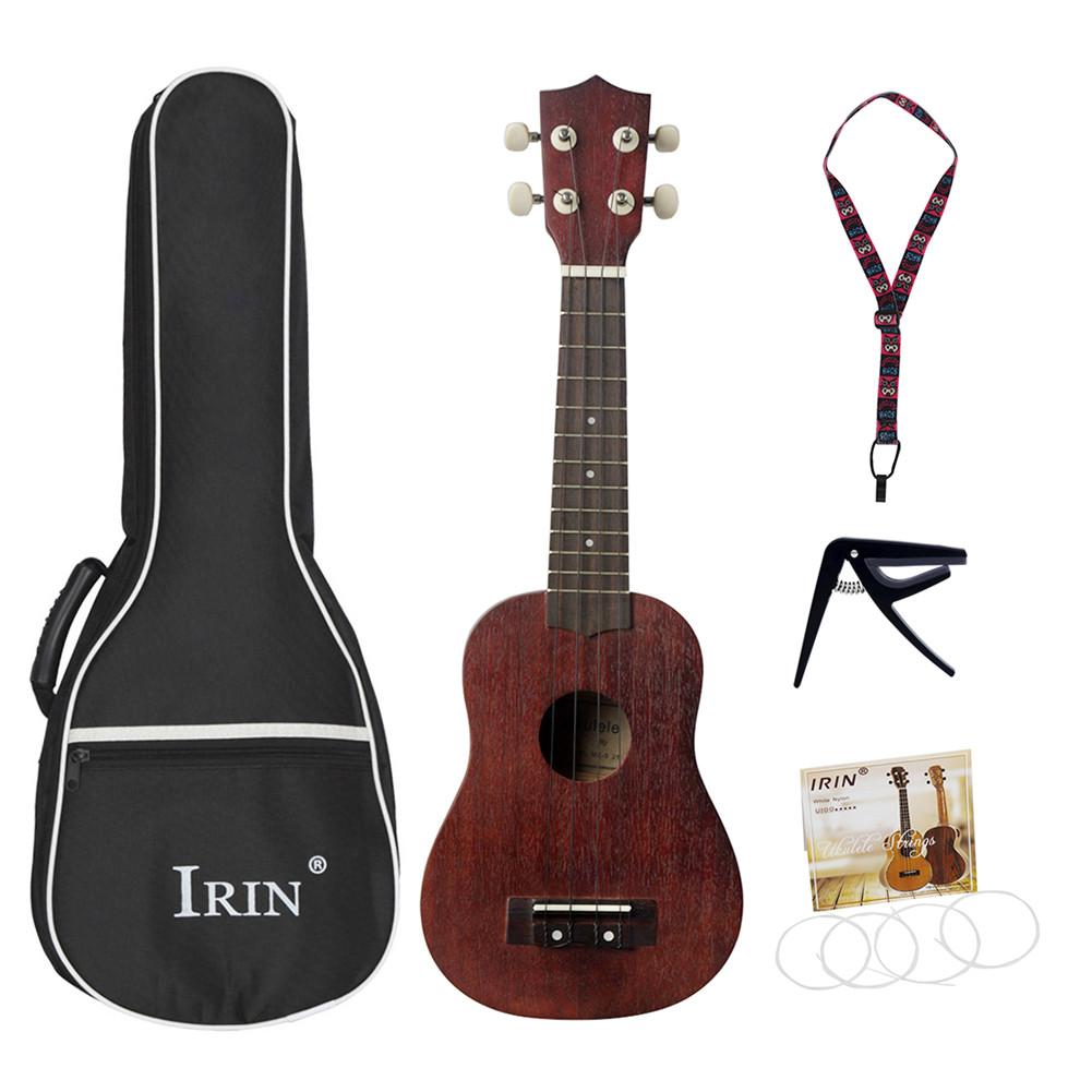 21inch Sapele Ukulele Small Guitar 15 fret Ukelele Kit with Strap Capo Concert Musical Instrument wine red