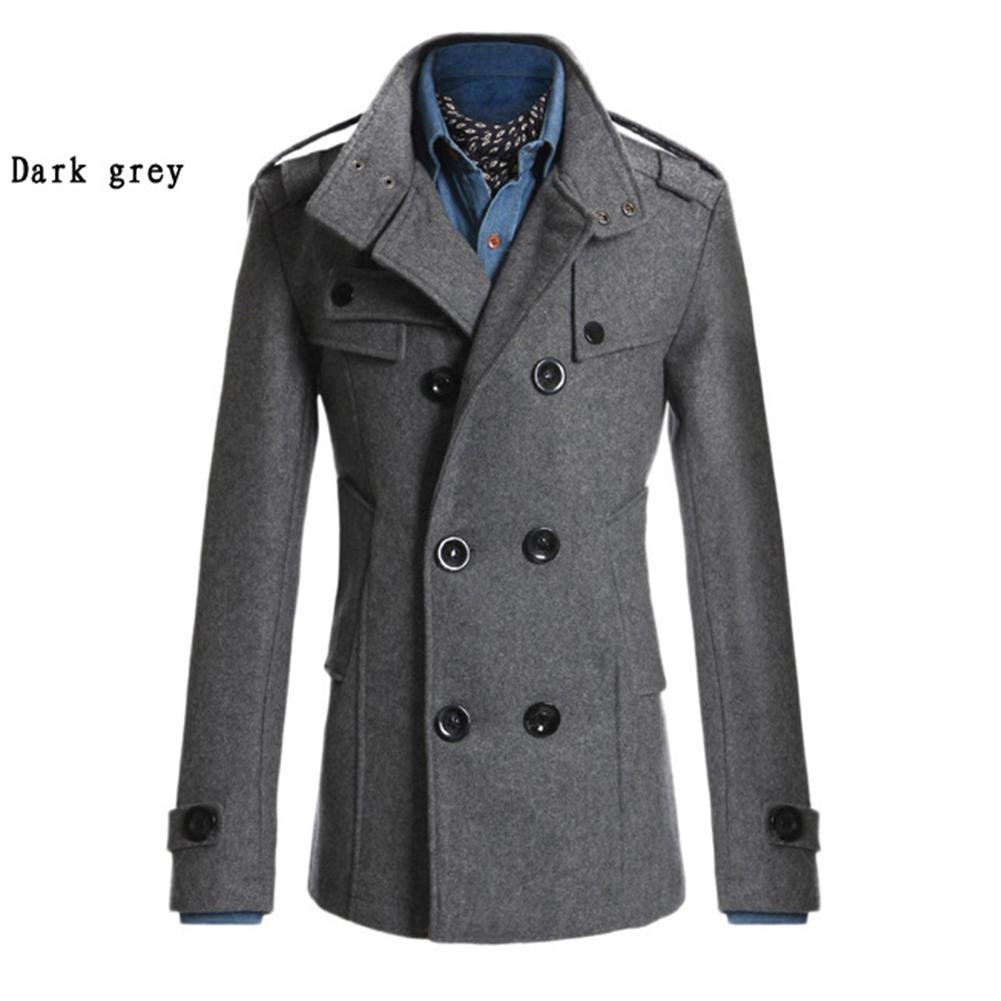 Men Winter Warm Trench Coat Dark Gray M