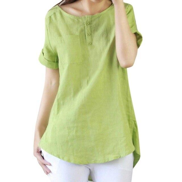 2018 Women Summer Blouse Korean Casual Short Sleeve Loose Cotton Linen Blouse Tops Cotton Accessories blouse Drop Shipping 3M19