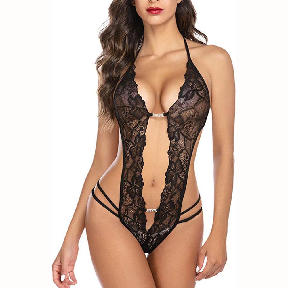 Women Deep V Lingerie Lace Babydoll Mini Bodysuit One-piece Teddy Lingerie M