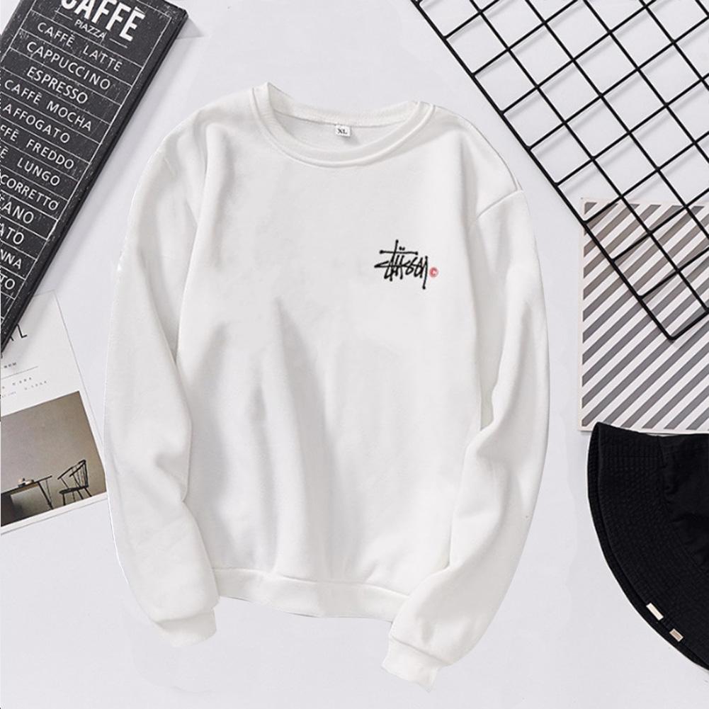 Women Men Long Sleeve Round Collar Loose Sweatshirts for Casual Sports  white_M