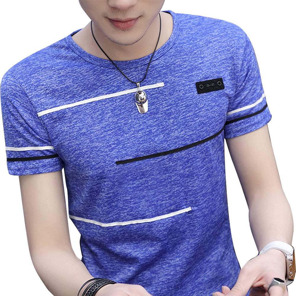 Men Short Sleeve Fashion Printed T-shirt Round Neck Tops blue_XXL
