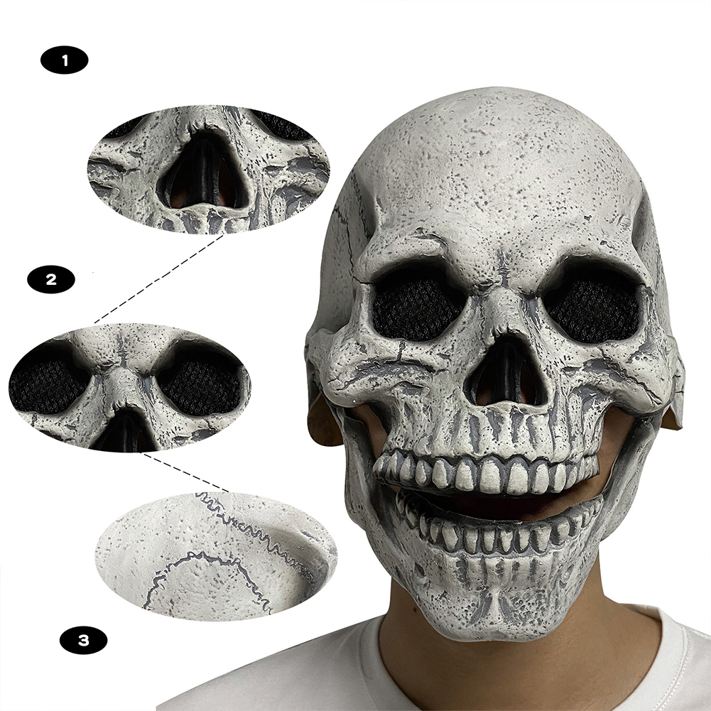 Halloween Horror  Mask Jaw Mouth Moveable Skull Latex Mask Skull Cosplay Props