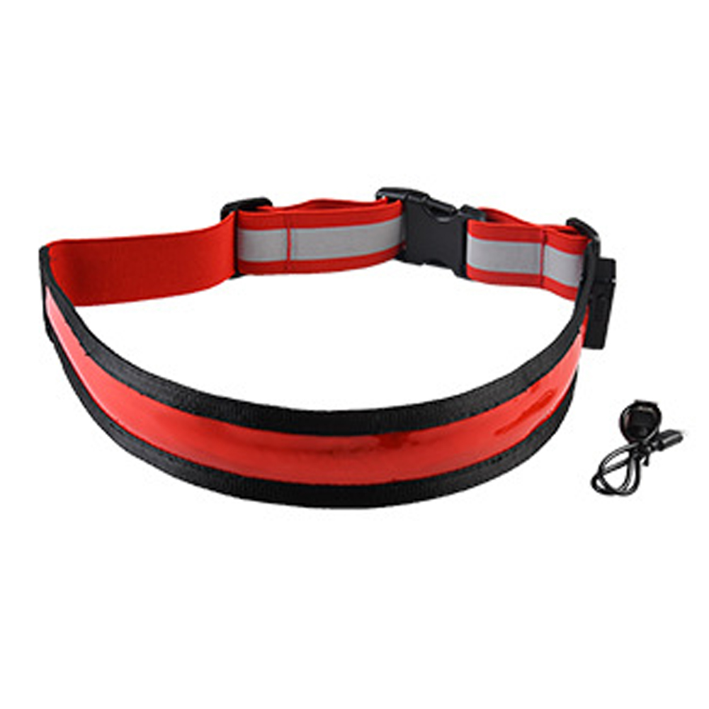 USB Rechargeable LED Belt Flash Safety Light Belt for Runner red_One size