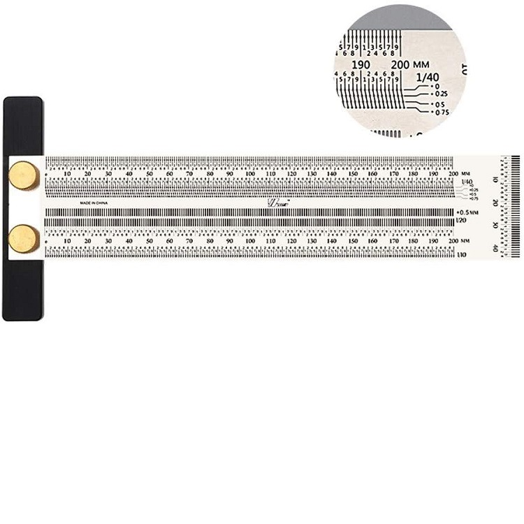 T Square Stainless Steel High-precision Carpentry  Ruler For Woodworking 200MM