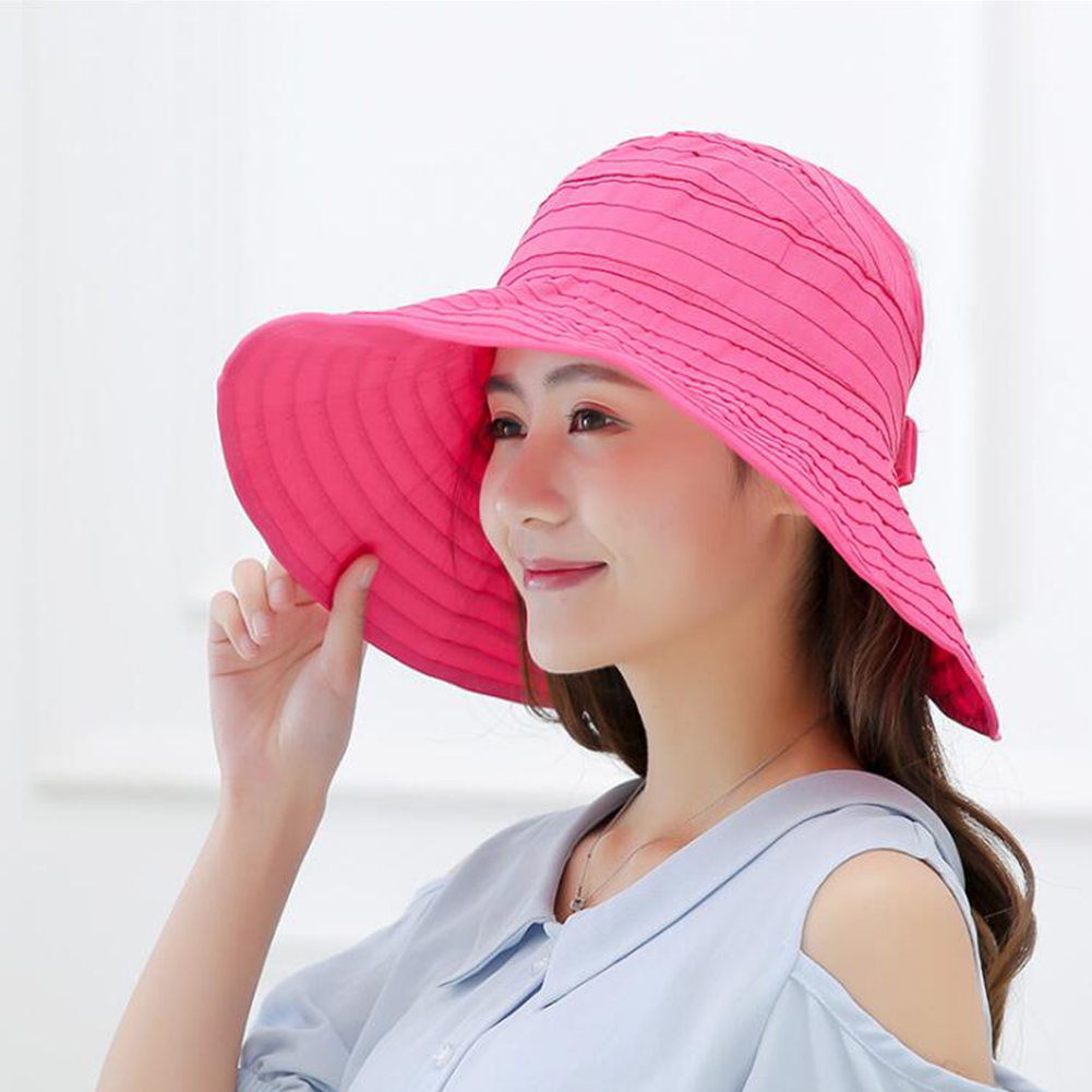 Women Solid Color Large Edge Breathable UV Protection Hats