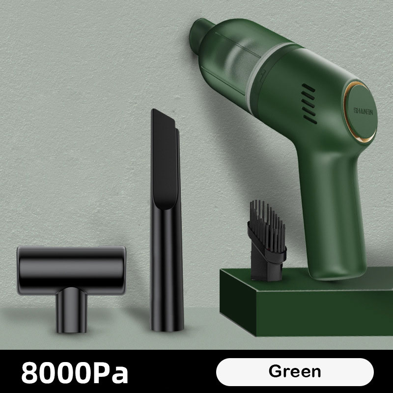 Portable Car Vacuum  Cleaner Wireless Rechargeable Handheld 8000pa High Suction Power Vacuum Cleaner Olive green