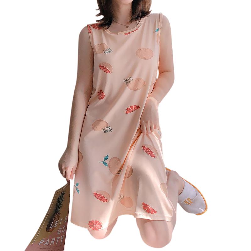 Girl Sleeveless Nightdress Grapefruit Sleepwear with Bra Pad Crew Neck Pajama Summer Loose Sundress grapefruit_L