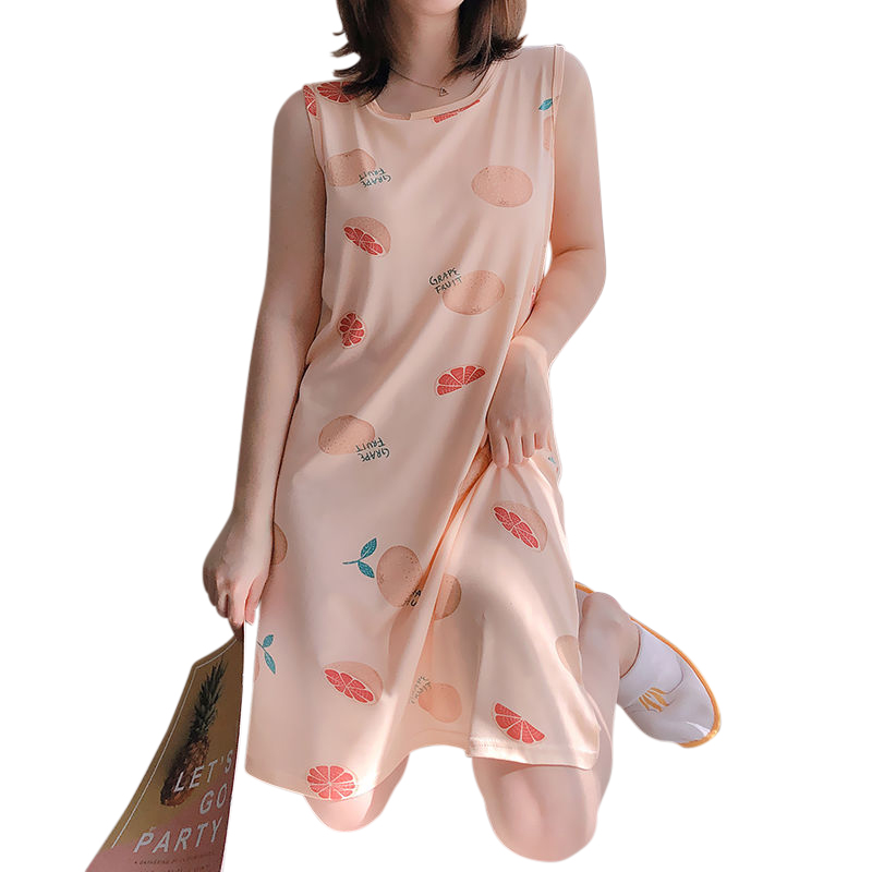 Girl Sleeveless Nightdress Grapefruit Sleepwear with Bra Pad Crew Neck Pajama Summer Loose Sundress grapefruit_XL