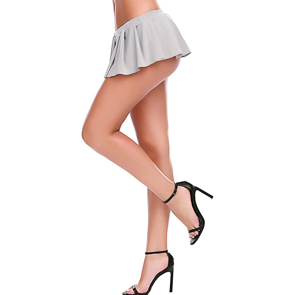 Women Sexy Role Play Pleated Mini Skirt Ruffle Lingerie for Schoolgirl  Off-white_XXL