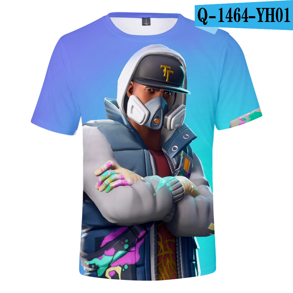 Casual 3D Cartoon Pattern Round Neck T-shirt Picture color AN_L