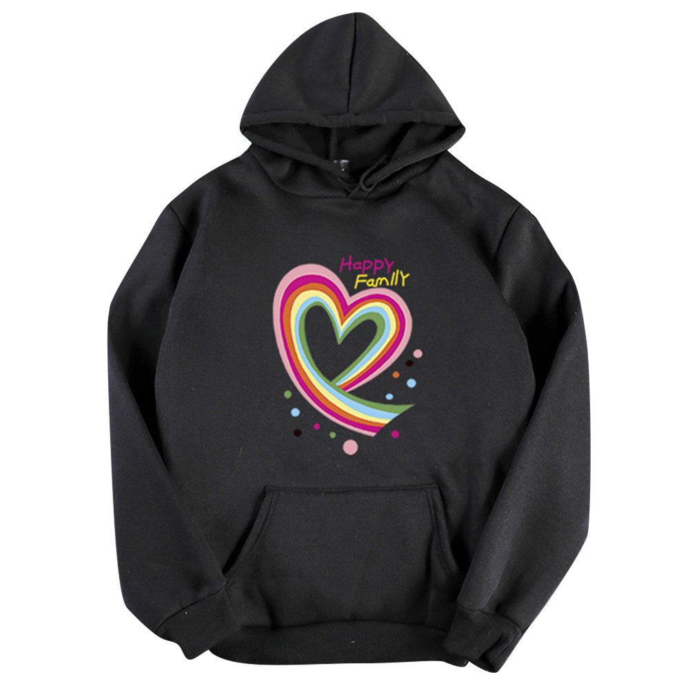 Men Women Hoodie Sweatshirt Happy Family Heart Thicken Loose Autumn Winter Pullover Tops Black_S