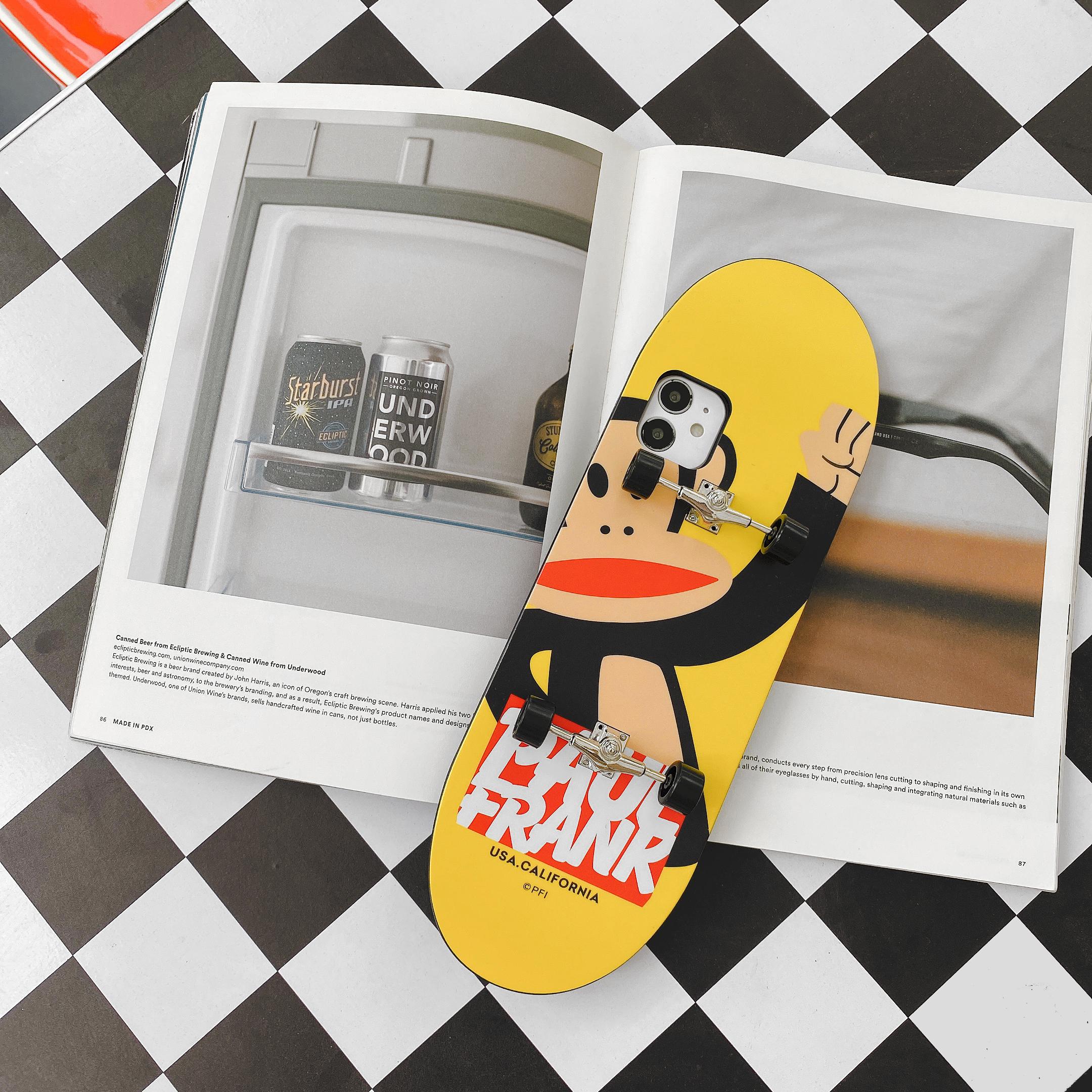 Mobile Phone Case Cartoon Skateboard Shape Protective Case For Iphone Xsmax Yellow Bottom Monkey_iPhone xsmax